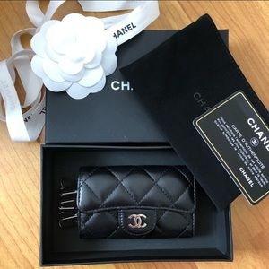 Chanel 6 Ring Key Holder Silver Hardware Lambskin.